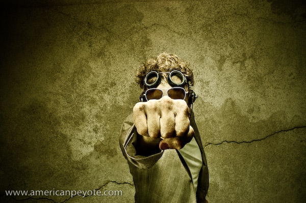 Fist and goggles portrait, Zurich Switzeralnd